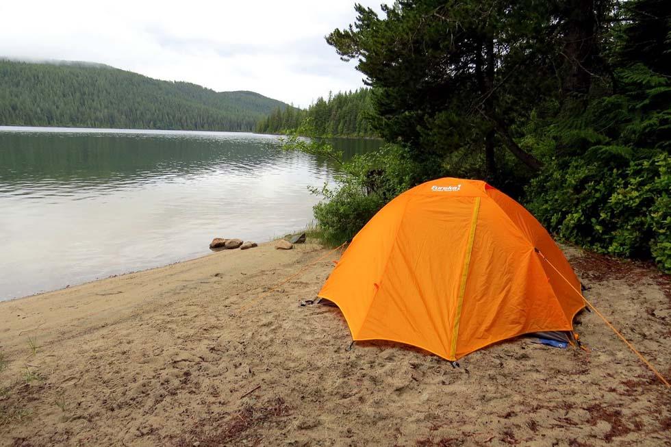 Camping at Amor Lake, Sayward Forest Canoe Circuit, Vancouver Island