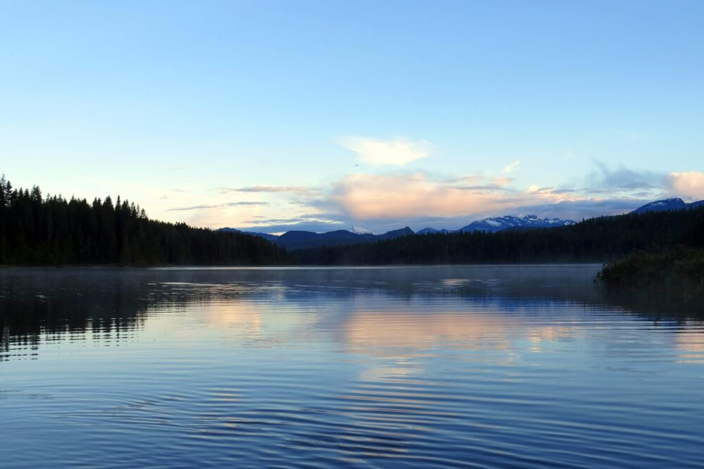 Views of Gray Lake at sunset on the Sayward Forest Canoe Circuit