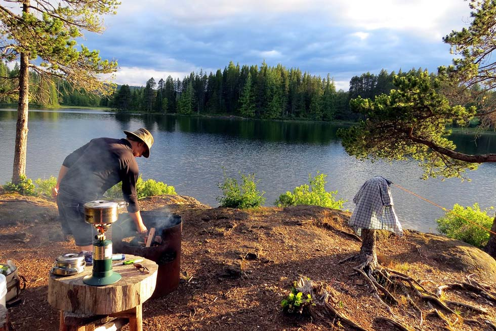Cooking at camp, Sayward Forest Canoe Circuit