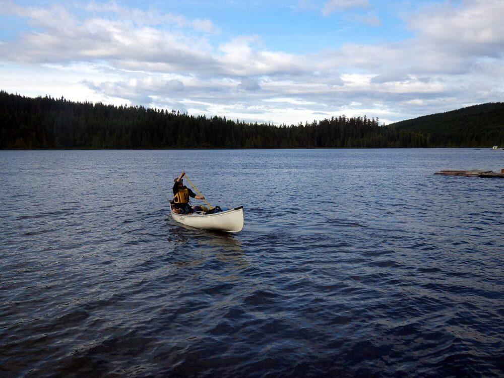 JR paddling on the Sayward Forest Canoe Circuit