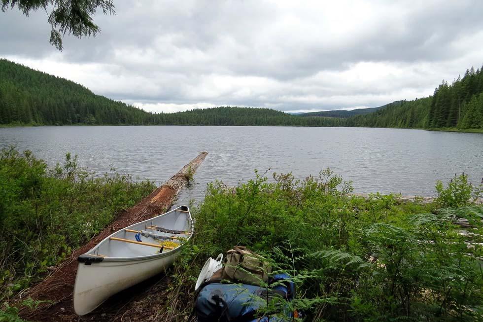 Launching at Mr Canoehead camping site, Sayward Canoe Circuit