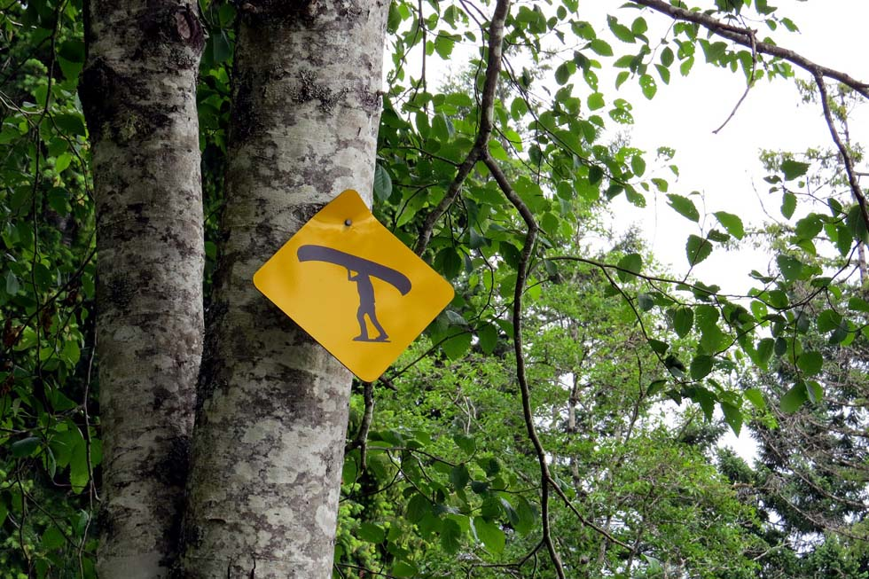 Portage sign on the Sayward Forest Canoe Circuit