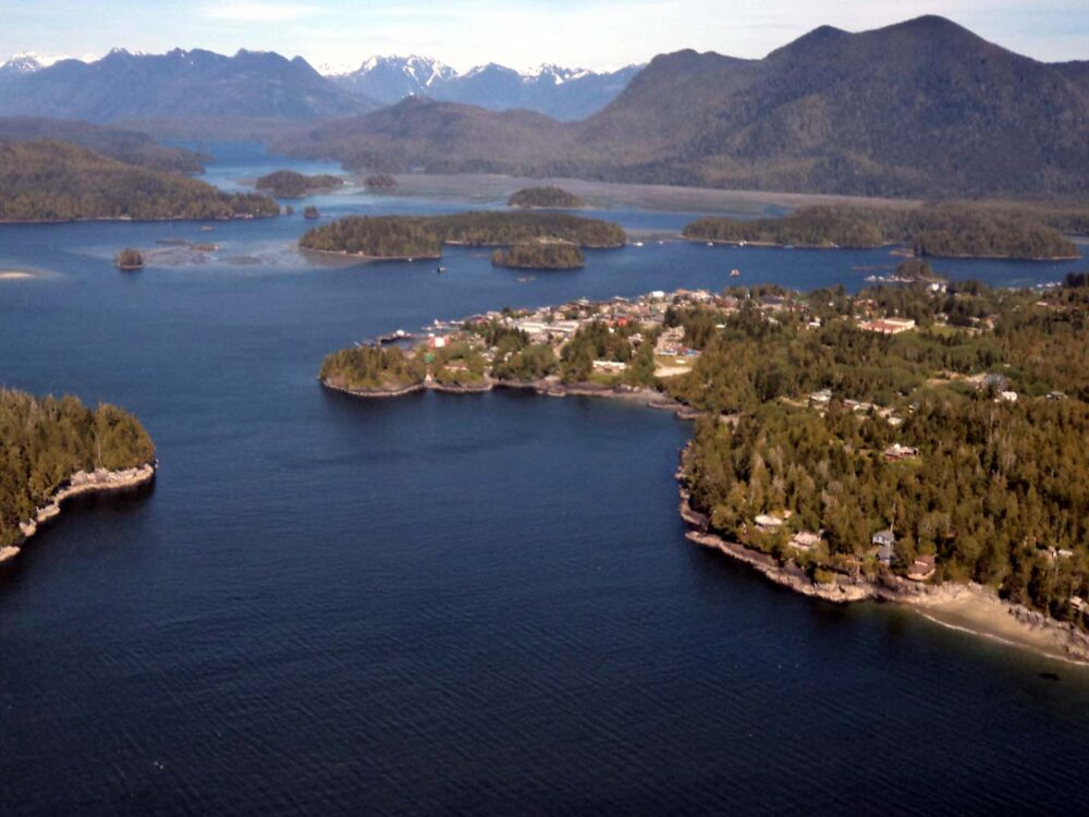 View of Tofino from seaplane, Vancouver Island