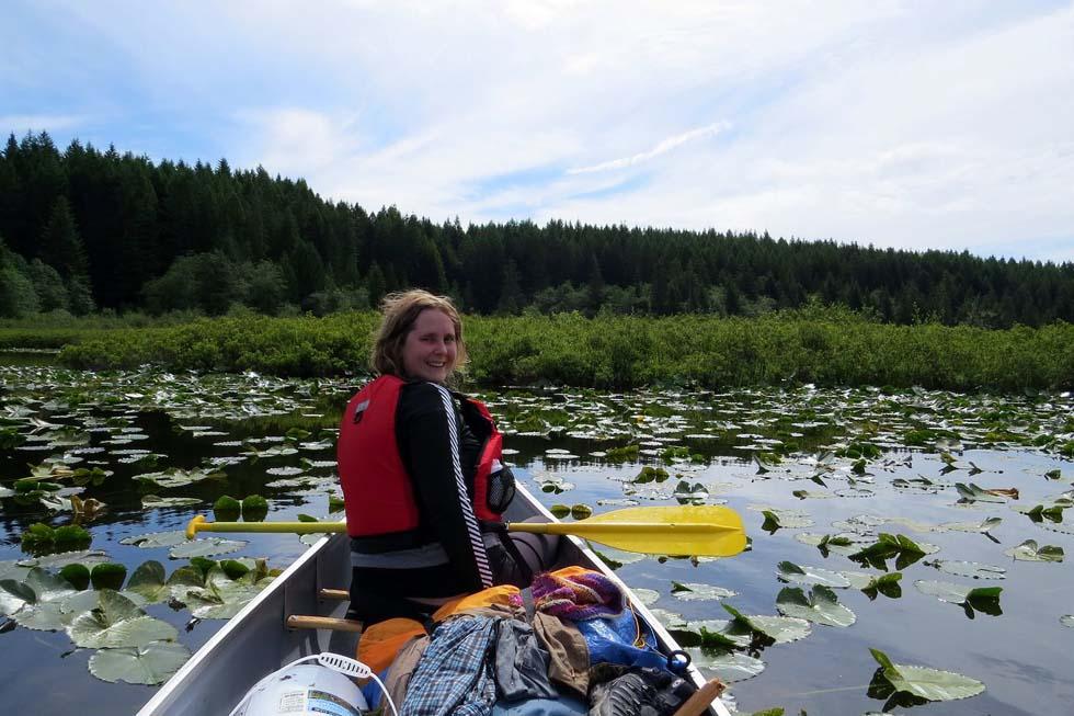 Paddling Whymper Lake, Sayward Forest Canoe Circuit