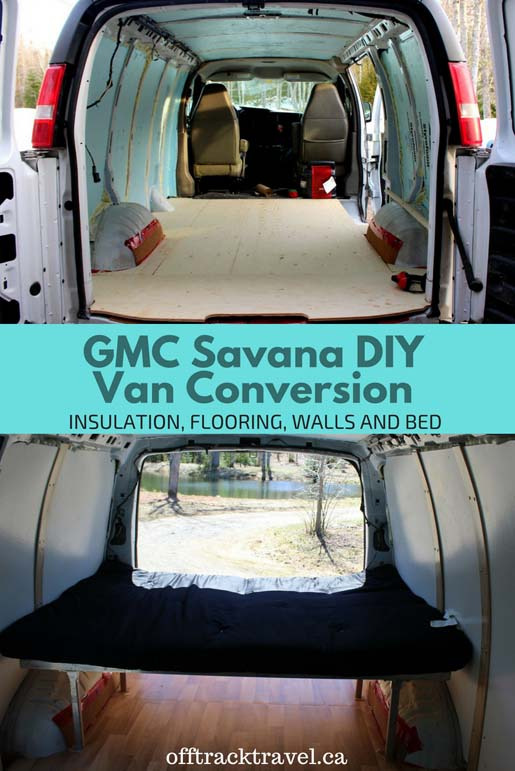 Check out the details of our GMC Savana DIY Van Conversion's flooring, insulation, wall coverings and welded bed. - offtracktravel.ca