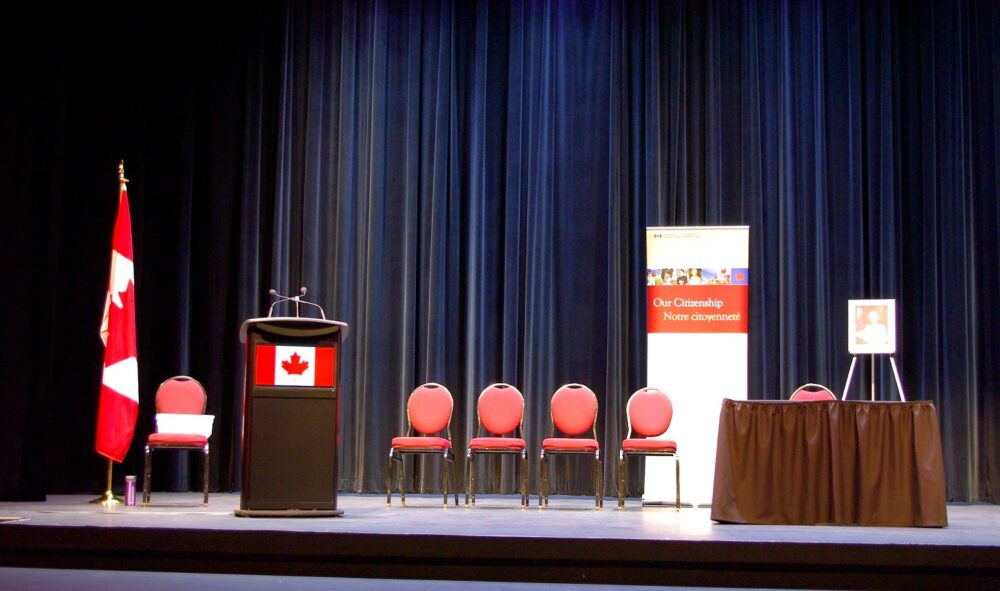 Canadian Citizenship Oath Ceremony stage set up