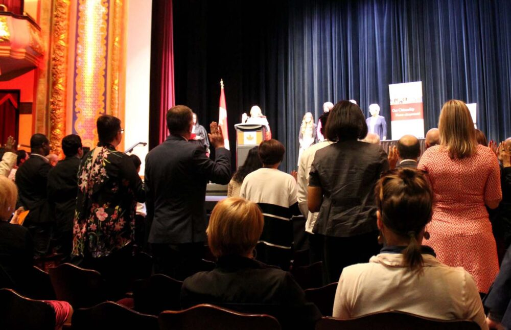 Taking the oath at the Canadian Citizenship Oath Ceremony
