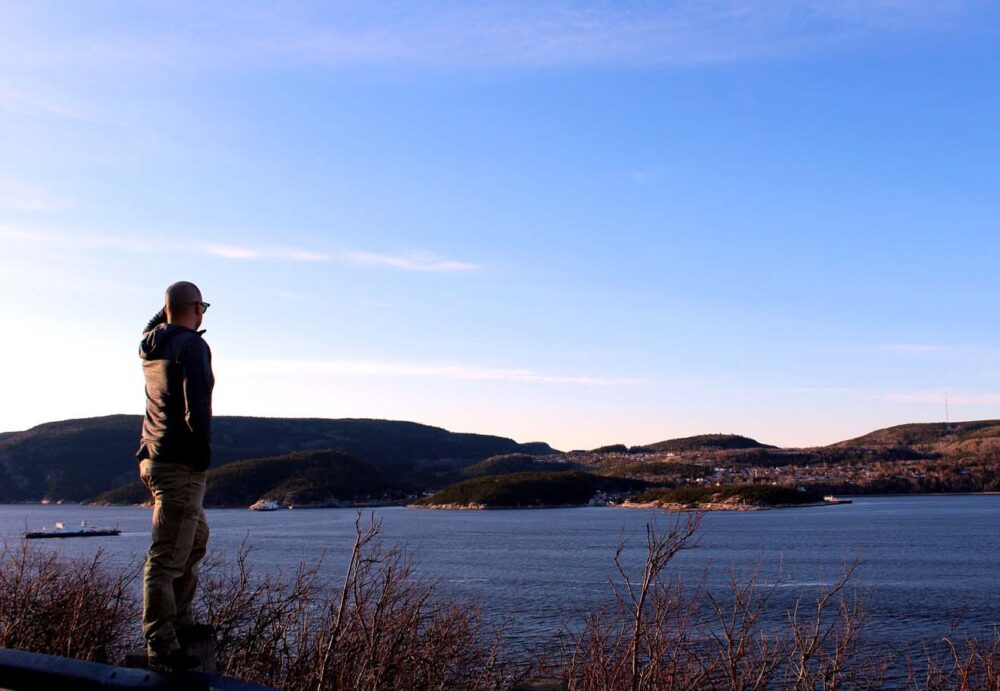 Whale watching from shore in Tadoussac