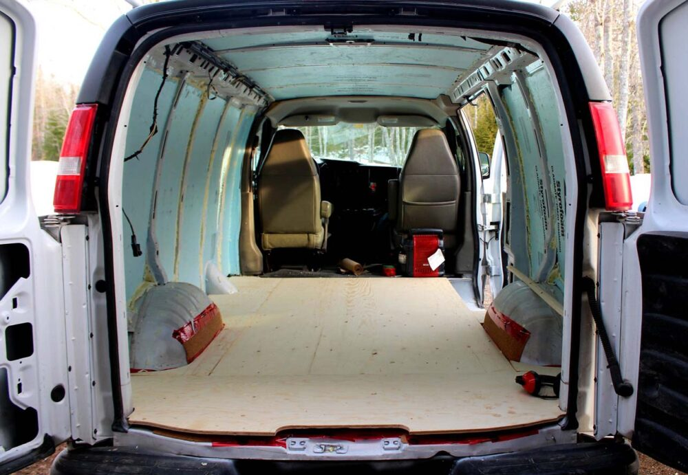 plywood flooring gmc savana diy van conversion