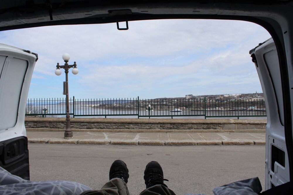 quebec city views from gmc savana diy van conversion