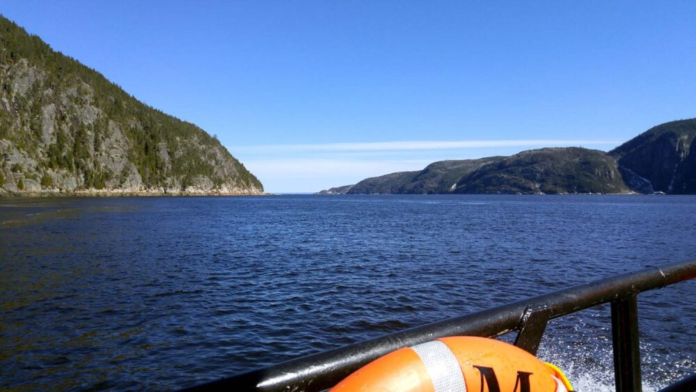 Saguenay Fjord from AMl whale watching boat in Tadoussac