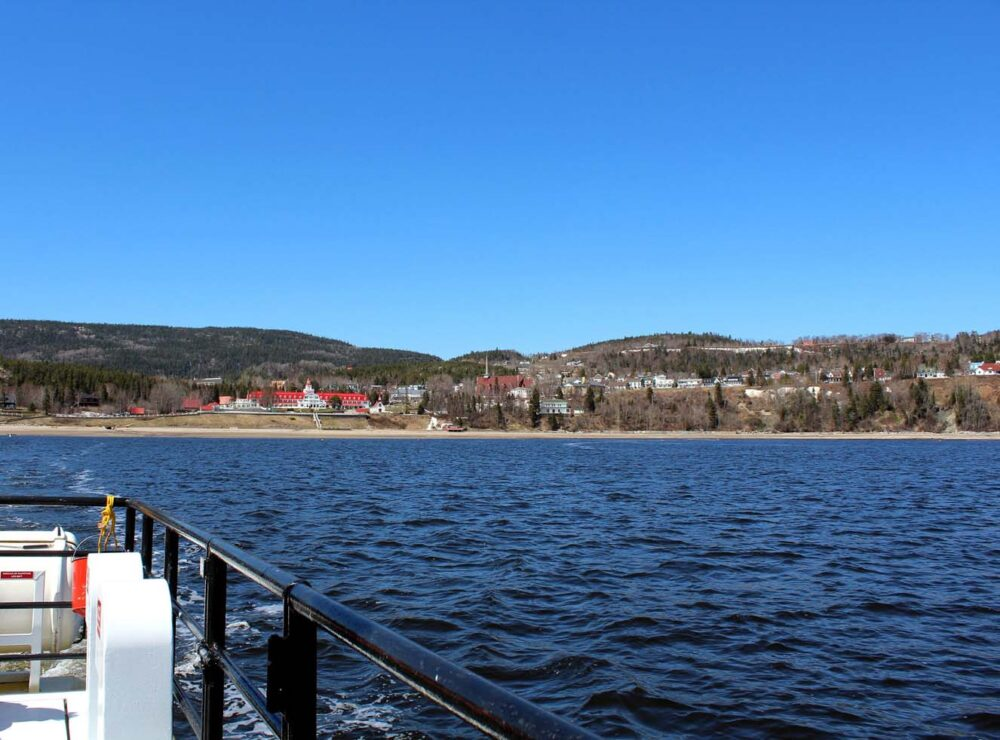 Town views from whale watching boat, Tadoussac