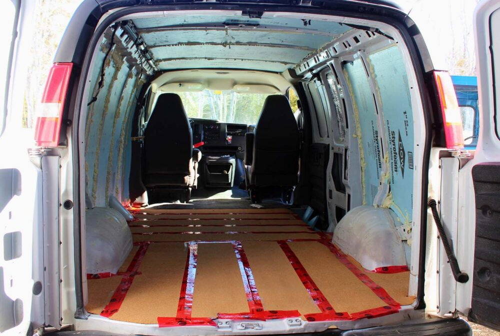 Cork flooring in GMC Savana DIY Van Conversion