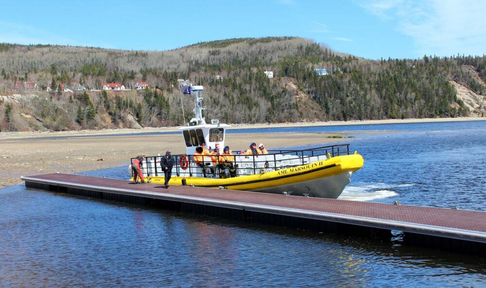 Example of Zodiac boat, one of the choices for whale watching in Tadoussac