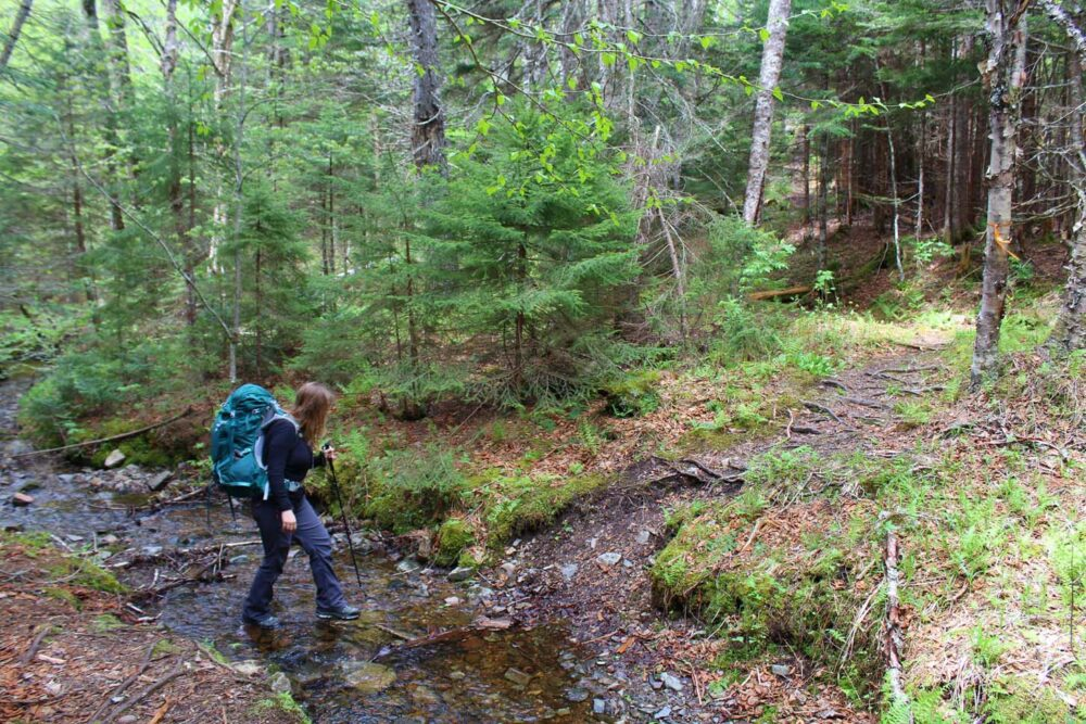 Gemma crossing a creek cape chignecto trail with hiking pole and backpack