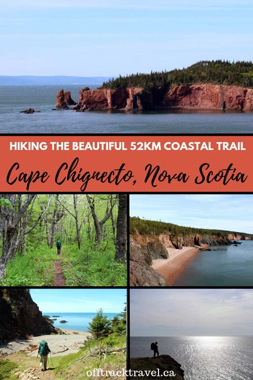 The 51km Cape Chignecto Coastal Trail is a unique backpacking trail in Nova Scotia, Canada. As well as travelling through beautiful maple forests, the trail traverses the cliffs and beaches beside the Bay of Fundy (home of the highest tides in the world). Hikers can either stay at backcountry campsites or book into well maintained cabins for this three or four night trail. offtracktravel.ca