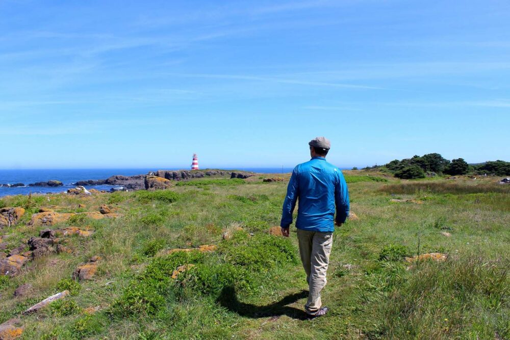 JR walking towards Western Light on Brier Island