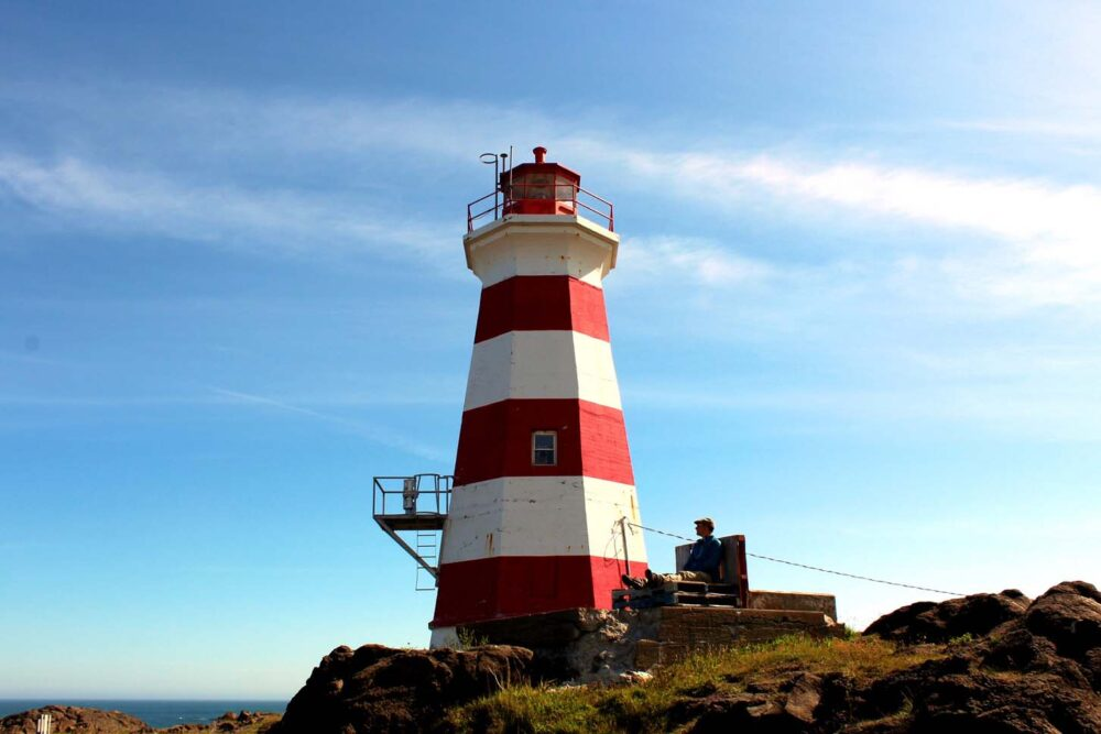The red and white striped Western Lighthouse on Brier Island, Nova Scotia