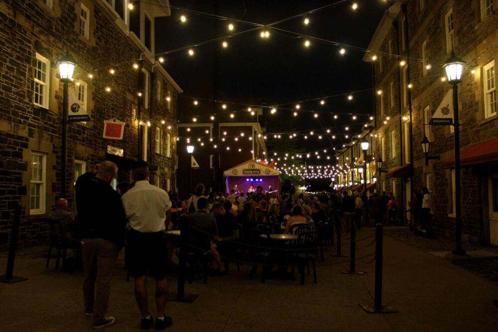 downtown halifax at night, with outside restaurant in historic waterfront area