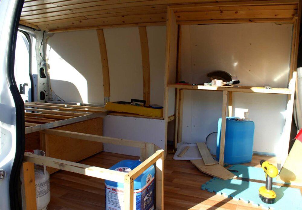 framing of cupboards gmc van conversion