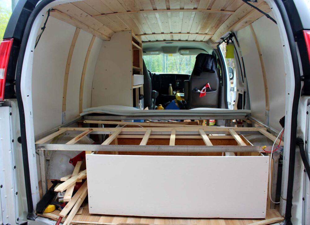 underbed back drawer gmc savana diy van conversion