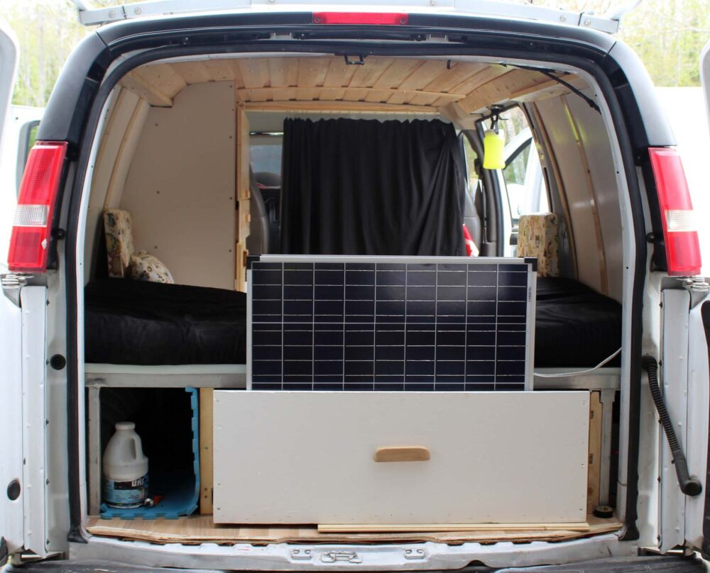 view from back of van conversion