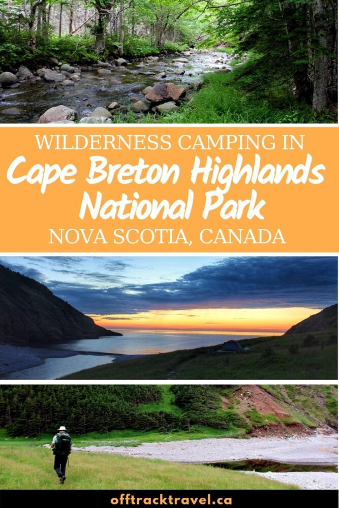 The Fishing Cove trail in Nova Scotia, Canada, is an overnight backpacking trip with beautiful views, easy terain and easily one of the best campgrounds on the Cabot Trail. Click here to learn more! offtracktravel.ca