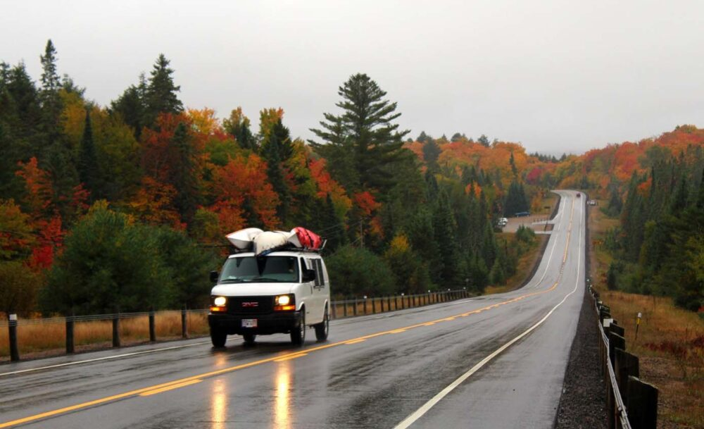 algonquin autumn colours with gmc savana