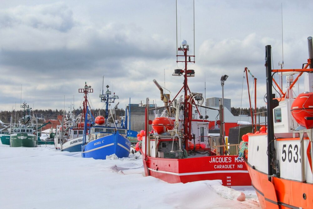 boats at caraquet harbour in winter new brunswick