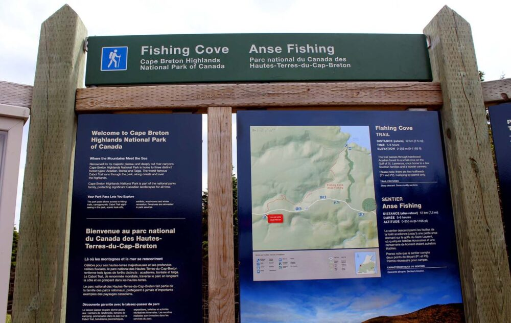 fishing cove trail information signs