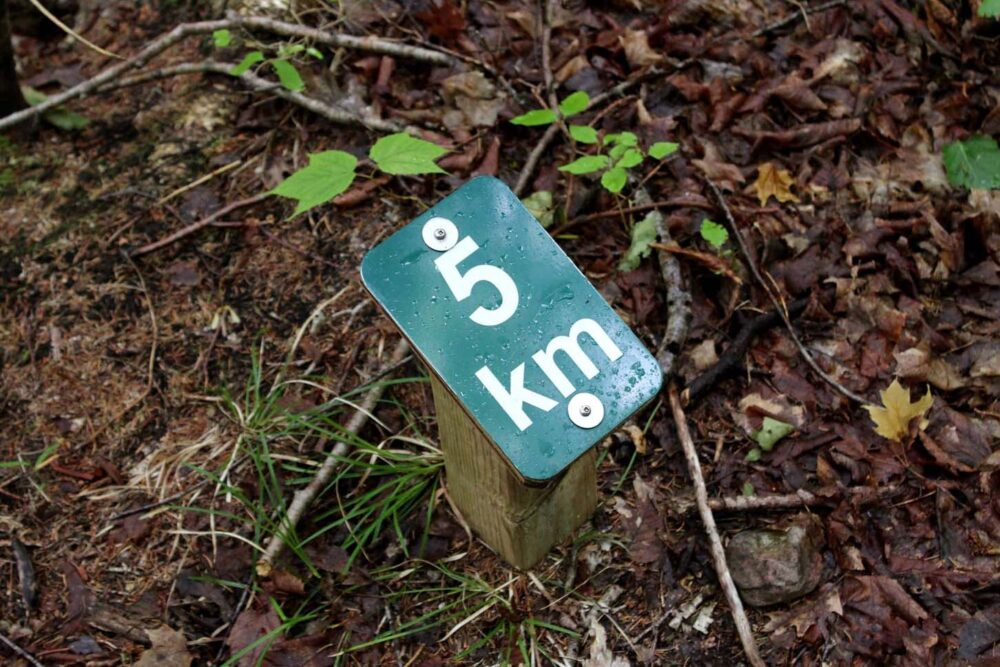 kilometre markers on the fishing cove trail, nova scotia