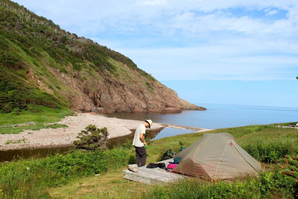 packing the tent nova scotia fishing cove trail