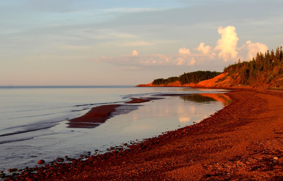 Red sunset on red sand beach, PEI