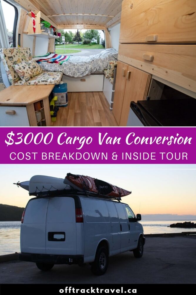 Looking to live the vanlife? Click here to check out all the details of our GMC Savana cargo van conversion, including cost breakdown (less than $3000 Canadian), inside tour, design rationale and links to construction diaries. offtracktravel.ca