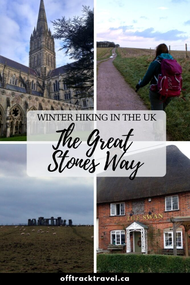 The Great Stones Way is a 60km+ hike in Wiltshire, UK. It is a magnificent trail, travelling though beautiful countryside, thatched villages and astonishing ancient sites such as Stonehenge, West Kennet Long Barrow and Silbury Hill. With much of the trail on a ridge, the Great Stones Way is an ideal hike for winter too. offtracktravel.ca