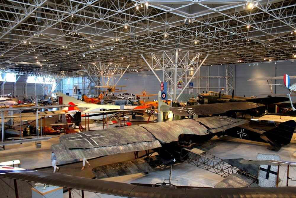overview of planes in canadian aviation and space museum main exhibition hall