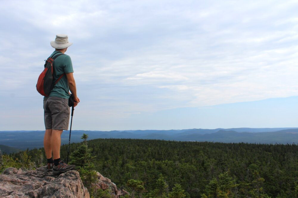 JR looking out to the Acadian forest, Mount Carleton Provincial Park