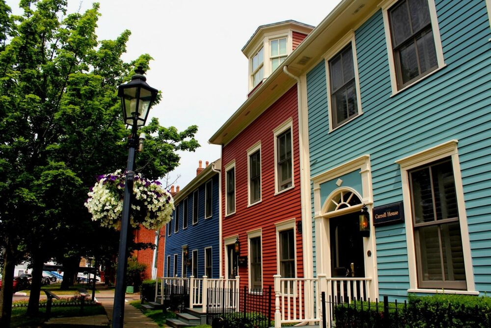Street of colourful houses in Charlottetown, PEI