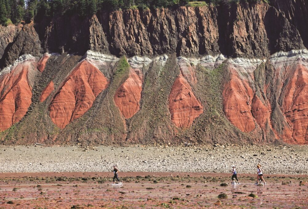 People walking along a beach in Five Islands Provincial Park, with large red cliffs behind