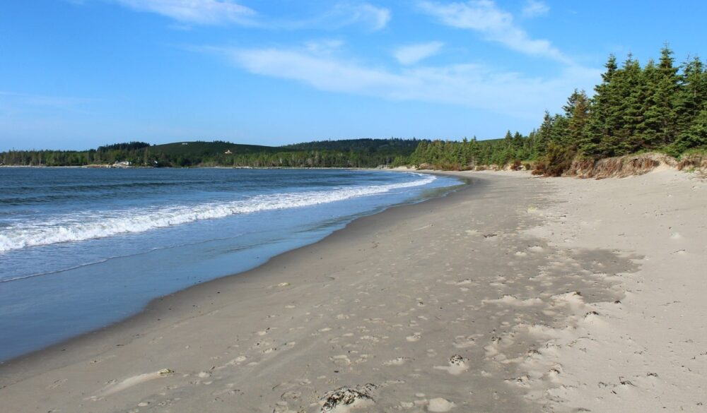View of golden sand beach at Risser's Beach Provincial Beach, Nova Scotia