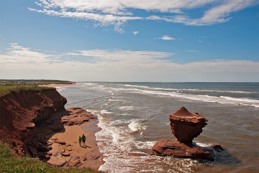 Interesting rock formations and red sand at Darnley Beach