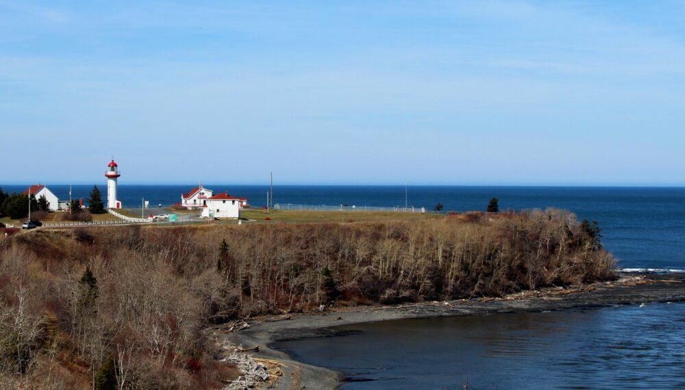 Gaspe Peninsula coastline with lighthouse