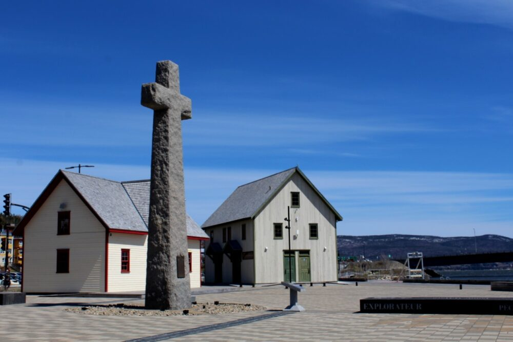 Stone cross that commemorates the arrival of French explorers in Canada in 1534