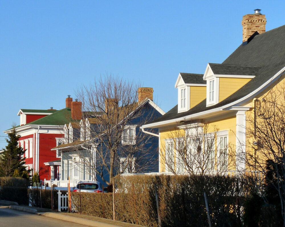 Colourful houses in Kamouraska, Quebec