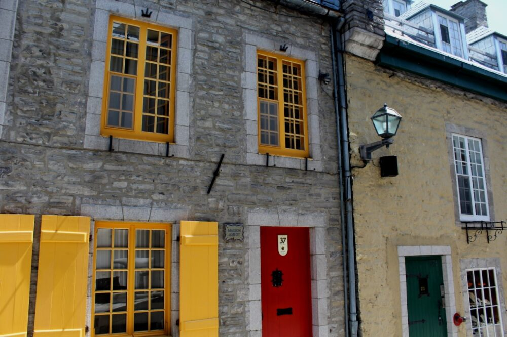 French style buildings in Quebec City with colourful doors and windows