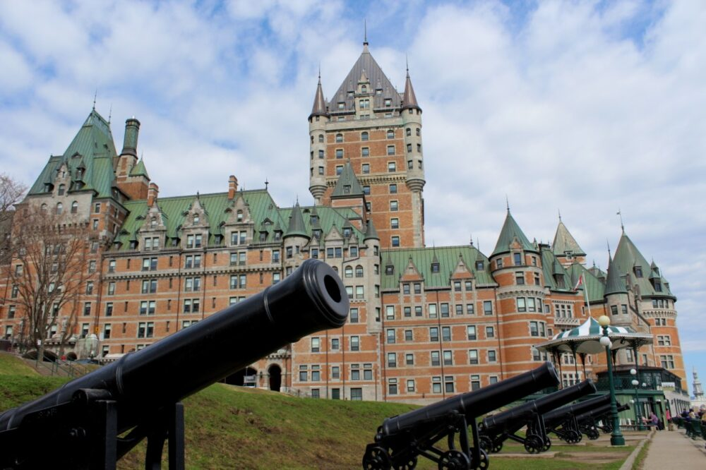 Chateau Frontenac with cannons in foreground