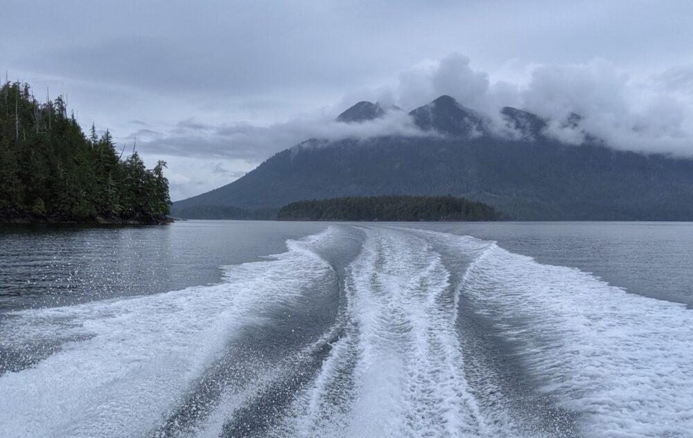 Mountainous views behind the boat on our Tofino whale watching tour