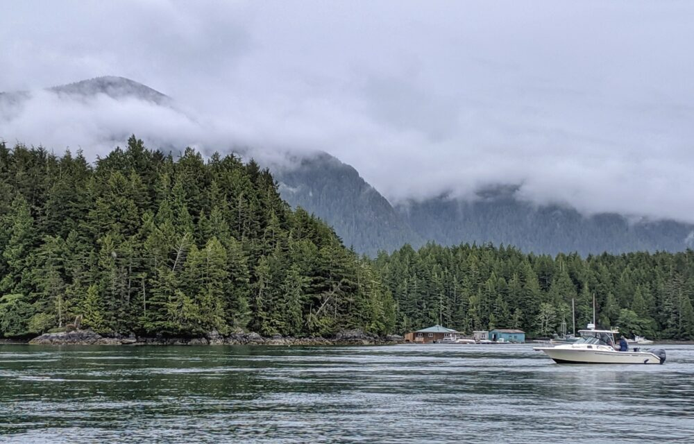 Boat moored near forested land, with misty mountains in background, near Tofino