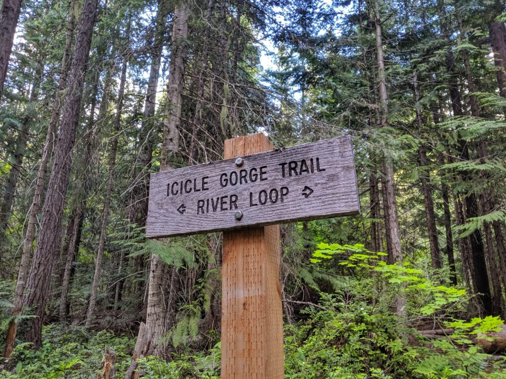 Wooden Icicle Gorge Trail River Loop sign in front of forest