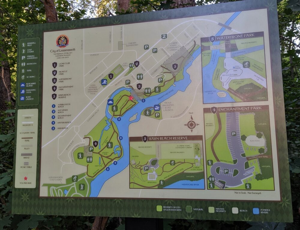 A sign with a map of the waterfront parks and hiking trails in Leavenworth
